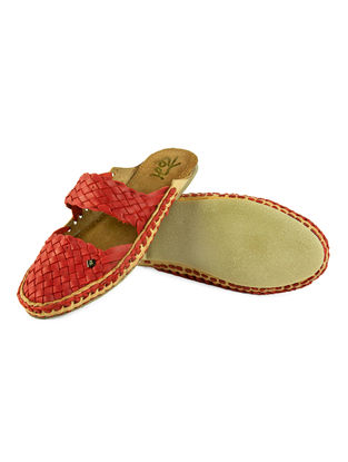 Red Leather Flats For Women