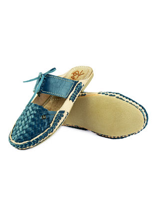 Blue Leather Flats For Women
