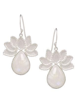 Lotus Ivory Pearl Drop Silver Earrings