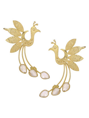 Peacock Crystal Gold Tone Silver Ear Cuffs