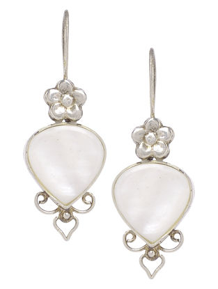 Floral Ivory Mother of Pearl Silver Earrings