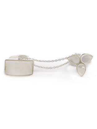 Classic Ivory Mother of Pearl Silver Adjustable Ring