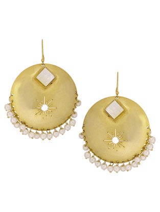 Ethno Ivory Pearl Drop Gold Tone Silver Earrings