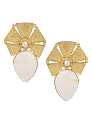 Classic Ivory Mother of Pearl Gold Tone Silver Earrings