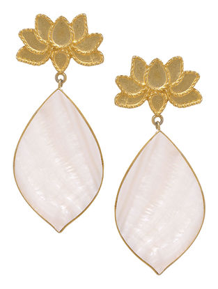 Lotus Ivory Mother of Pearl Gold Tone Silver Earrings