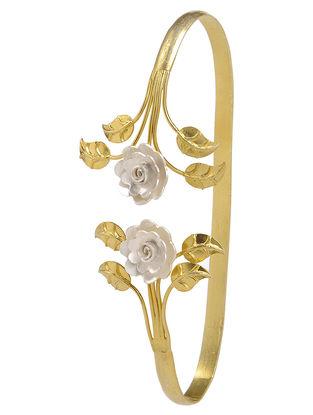 Floral Dual Tone Silver Hand Cuff
