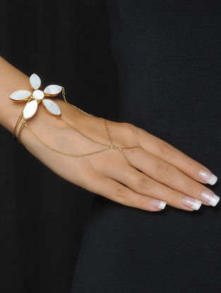 Floral Ivory Mother of Pearl Gold Tone Silver Hathphool
