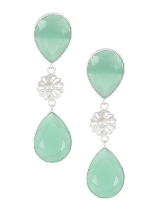 Aqua Chalcedony Silver Earrings with Floral Design