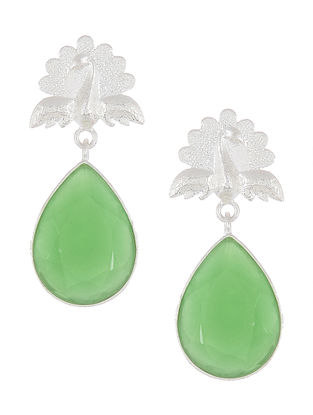 Aventurine Silver Earrings with Peacock Design