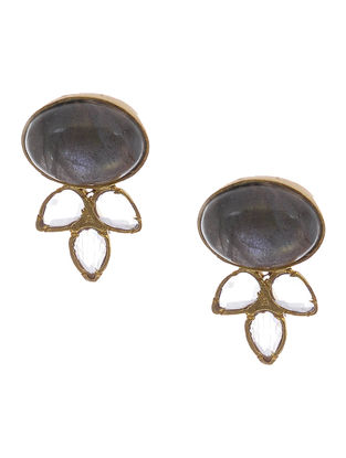 Labradorite and Crystal Gold-plated Silver Earrigns