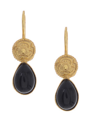 Black Onyx Gold-plated Silver Earrings