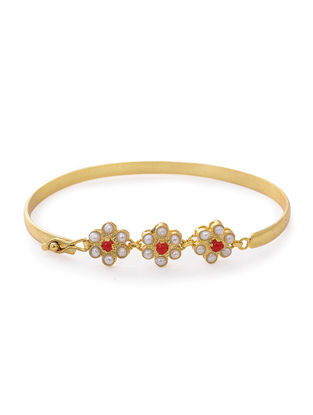 Coral and Pearl Gold-plated Silver Bracelet