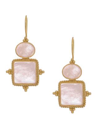 Rose Quartz Gold-plated Silver Earrings