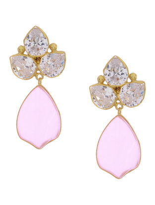 Hydro Rose Quartz and Crystal Gold-plated Silver Earrings