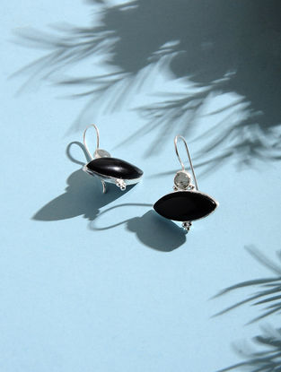 Black Onyx and Labradorite Silver Earrings