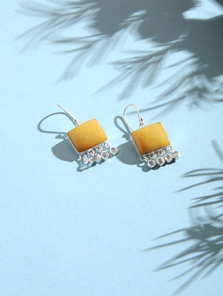 Yellow Aventurine and Crystal Silver Earrings