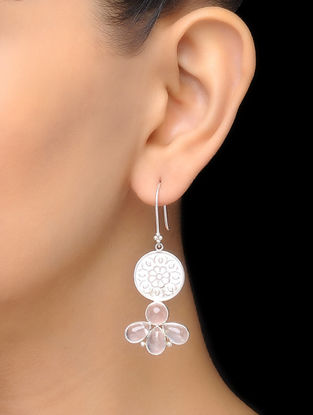 Pink Floral Rose Quartz Silver Drop Earrings