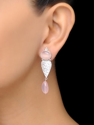 Pink Rose Quartz Silver Drop Earrings