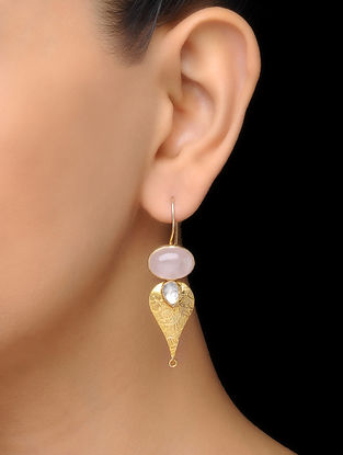 Pink Classic Gold Tone Rose Quartz Silver Earrings
