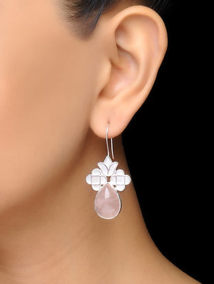 Pink Floral Rose Quartz Silver Earrings