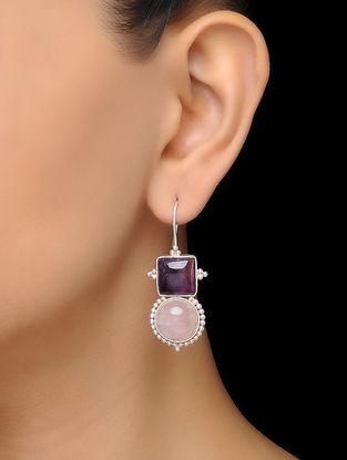 Pink Classic Rose Quartz Silver Earrings
