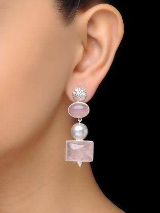 Pink Classic Rose Quartz Silver Drop Earrings