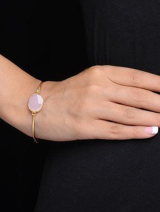 Pink Classic Gold Tone Rose Quartz Silver Bracelet