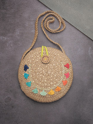 Beige-Multicolored Hand-Braided Jute Round Sling Bag with Embellishments