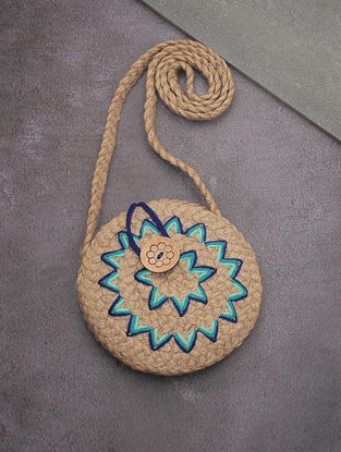 Beige-Blue Hand-Braided Jute Round Sling Bag with Embellishments
