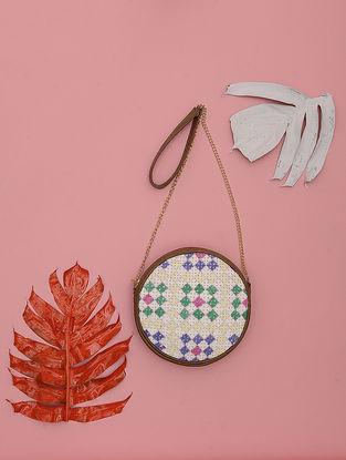 Tan-Multicolored Kathiyawadi-Embroidered Cotton Sling Bag