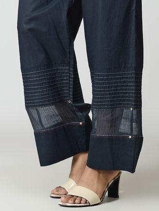 Blue Handwoven Tie-up Waist Chanderi-Cotton Pants with Zari