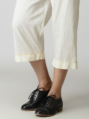 Ivory Handwoven Tie-up Waist Chanderi-Cotton Pants with Zari
