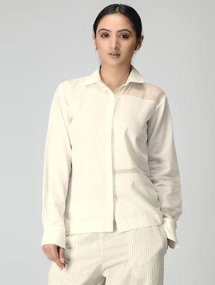 Ivory Handwoven Button-up Chanderi-Cotton Shirt with Zari