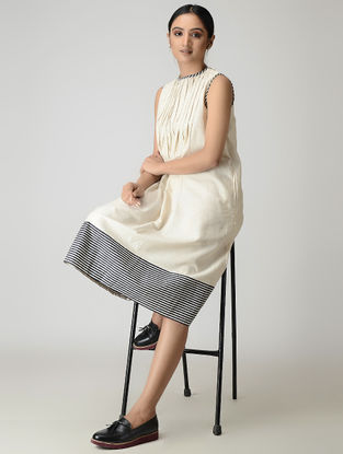 Ivory Handwoven Pleated Chanderi-Cotton Dress with Zari