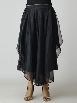 Black Handwoven Layered Chanderi-Cotton Skirt with Zari