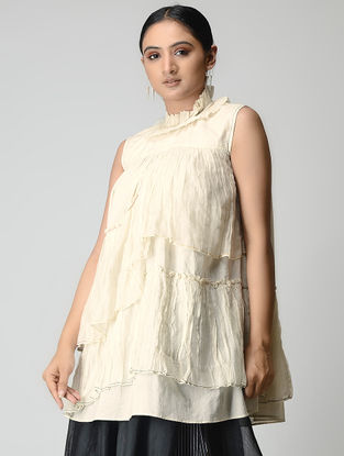 Ivory Handwoven Layered Chanderi-Cotton Top with Zari