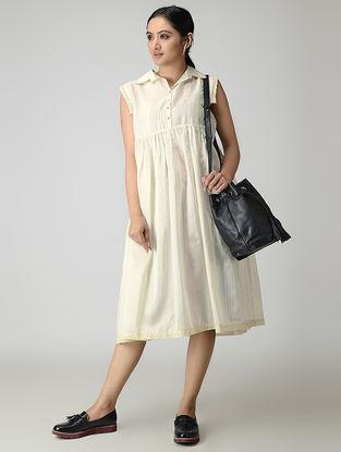 Ivory Handwoven Gathered Chanderi-Cotton Dress with Zari
