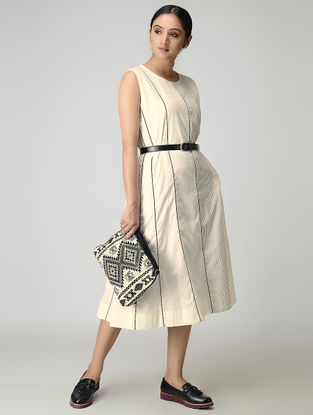 Ivory Handwoven Chanderi-Cotton Dress with Zari