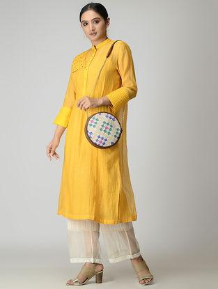Yellow Handwoven Chanderi-Cotton Kurta with Zari