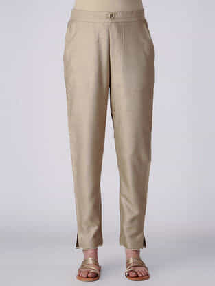 Beige Elasticated Waist Tussar Cotton Pants
