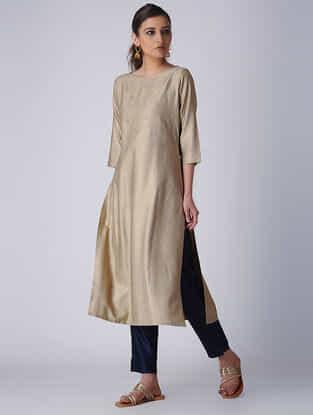 Beige Embroidered Tussar Cotton Kurta