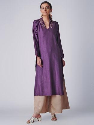 Purple Embroidered Tussar Cotton Kurta