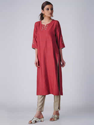 Red Embroidered Tussar Cotton Kurta