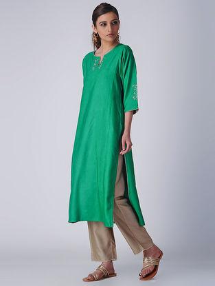 Green Embroidered Tussar Cotton Kurta