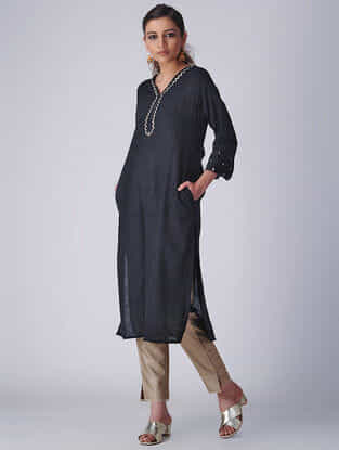 Black Embroidered Khadi Kurta