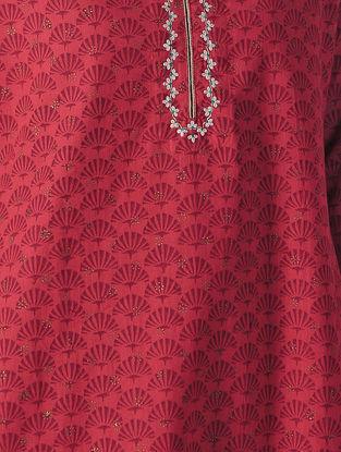 Red Embroidered Mangalgiri Kurta