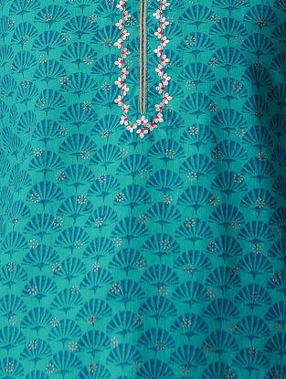Turquoise Embroidered Mangalgiri Kurta