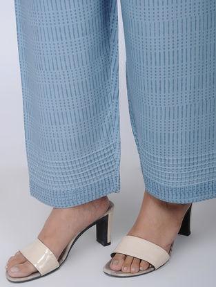 Blue Block-printed Viscose Elasticated Waist Pants
