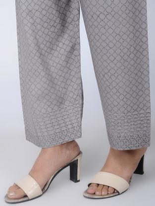 Grey Block-printed Viscose Elasticated Waist Pants