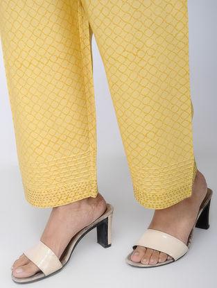 Yellow Block-printed Viscose Elasticated Waist Pants